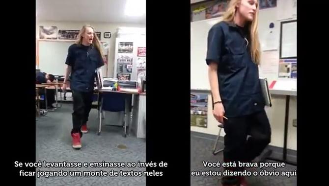 Aluno irritado dá lição de moral na professora