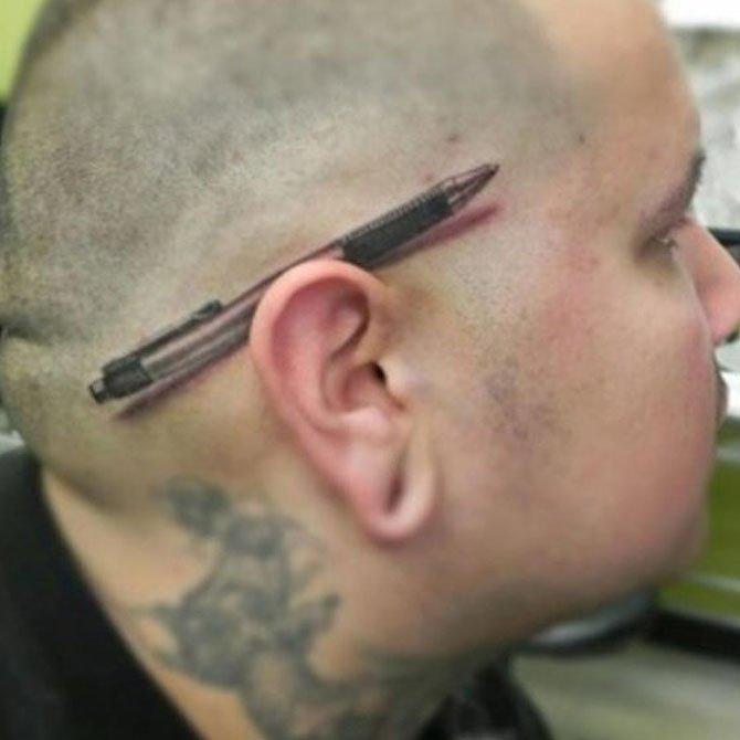Tattoo 3D Caneta na Orelha
