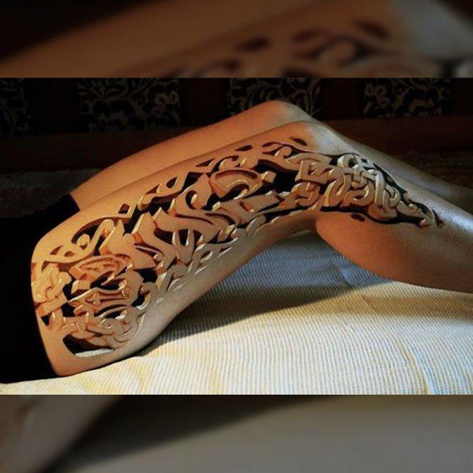 Tattoo 3D Perna Feminina