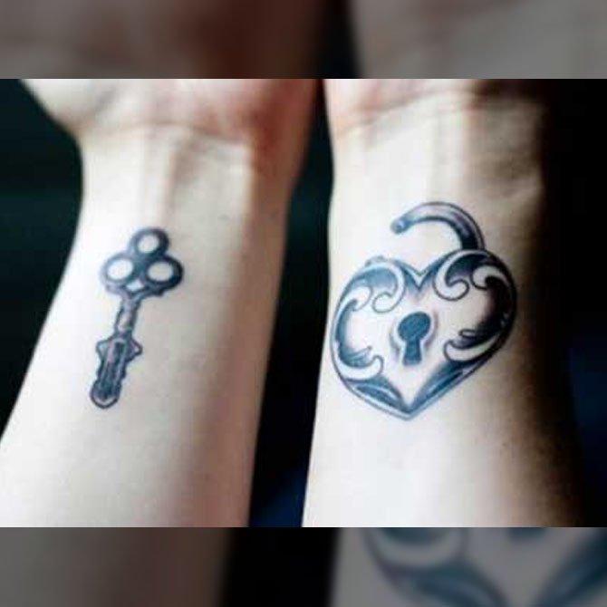 Tattoo para Casal Chave do Coração