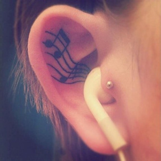 Tattoo Símbolo Música na Orelha