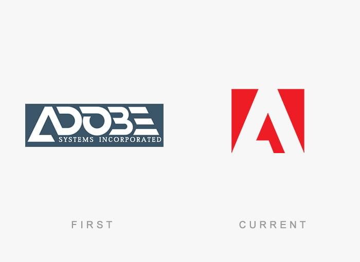 Logotipo antigo e novo Adobe