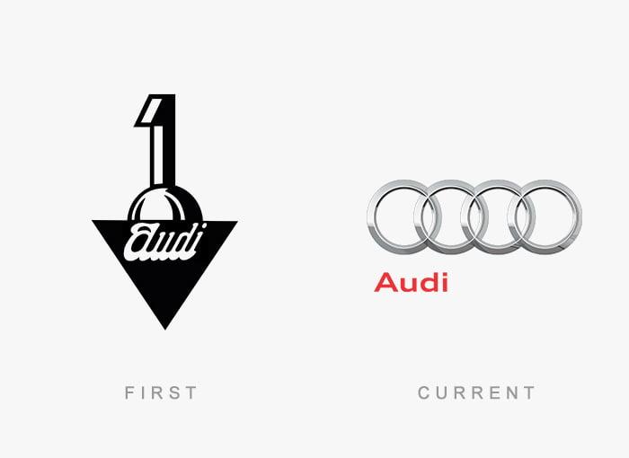 Logotipo antigo e novo Audi