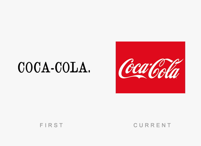 Logotipo antigo e novo Coca Cola