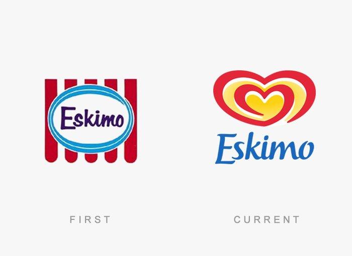 Logotipo antigo e novo Eskimo