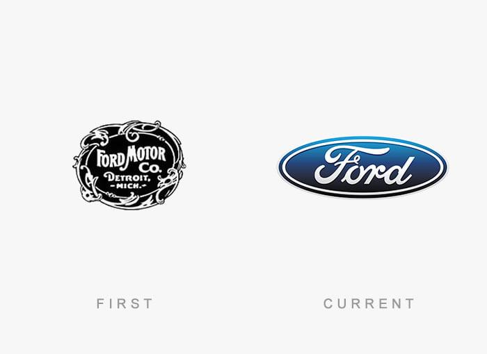 Logotipo antigo e novo Ford