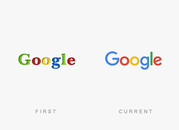 Logotipo antigo e novo Google