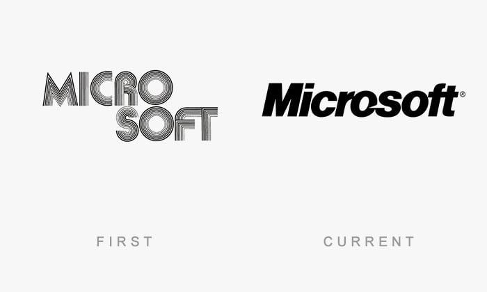 Logotipo antigo e novo Microsoft