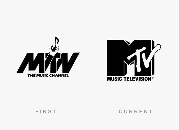 Logotipo antigo e novo MTV
