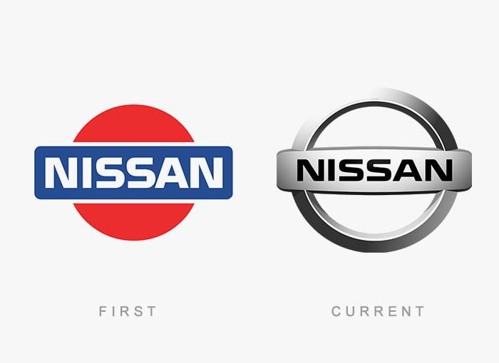 Logotipo antigo e novo Nissan