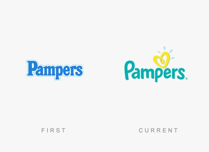 Logotipo antigo e novo Pampers