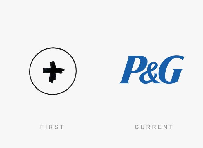 Logotipo antigo e novo P&G