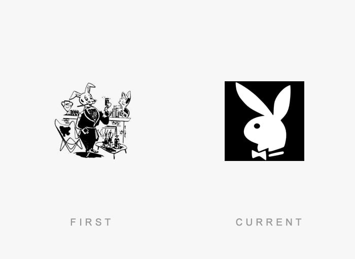 Logotipo antigo e novo Playboy