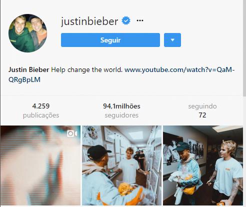 perfis mais seguidos do Instagram justin bieber