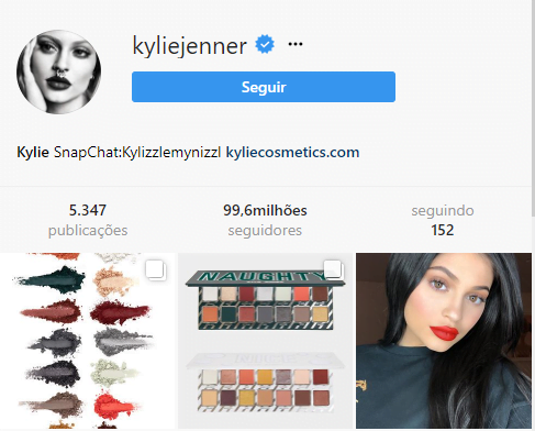 perfis mais seguidos do Instagram kylie