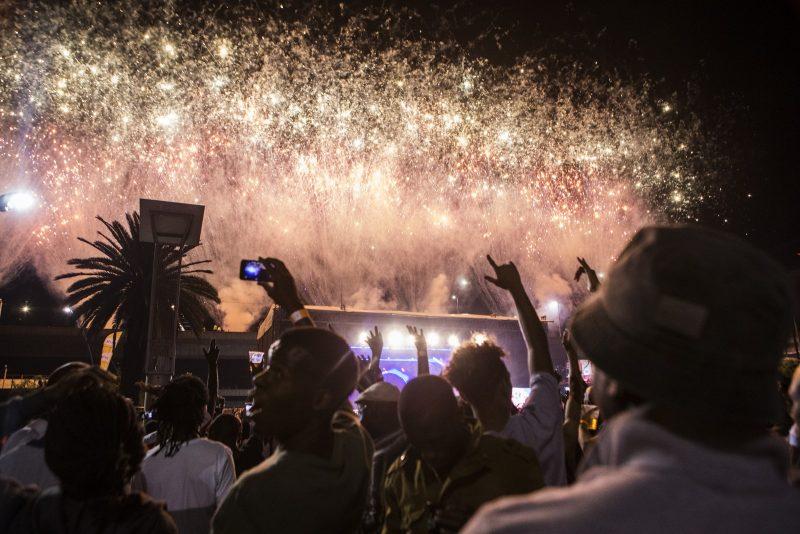 Réveillon 2018 na Praça Fitzgerald Square, em Joanesburgo, na África do Sul