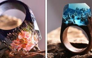 Estes lindos anéis de resina parecem ter mundos fantásticos em seu interior